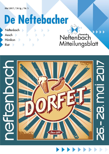 Titelbild Mitteilungsblatt De Neftebacher Mai 2017 DORFET
