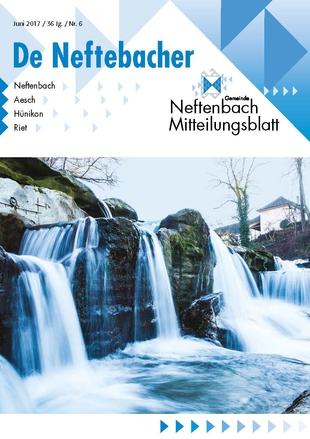 Titelbild Wasserfall auf dem Mitteilungsblatt De Neftebacher Juni-Ausgabe 2017