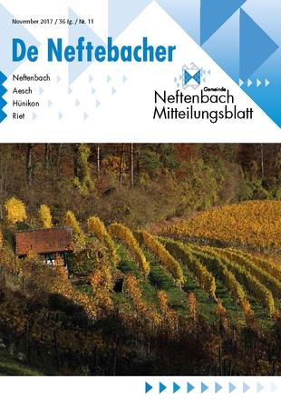 Rebberg im Hebstlicht auf dem Titelblatt des Neftenbacher Mitteilungsblattes November 2017