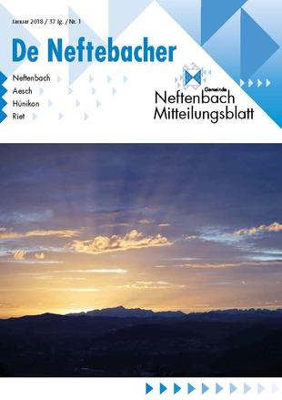 Titelbild Sonnenuntergang Mitteilungsblatt De Neftebacher Januar 2018