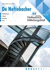 Titelblatt Mitteiluongsblatt Neftenbach Februar 2018 Wendeltreppe mit Himmel und Wolken