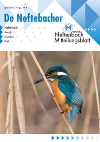 Titelblatt Mitteilungsblatt Neftenbach April 2018 Eisvogel auf Schilfrohr