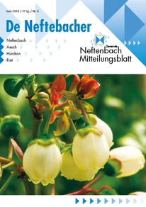 Titelseite Mitteilungsblatt Neftenbach Juni-Ausgabe 2018 Heidelbeeren