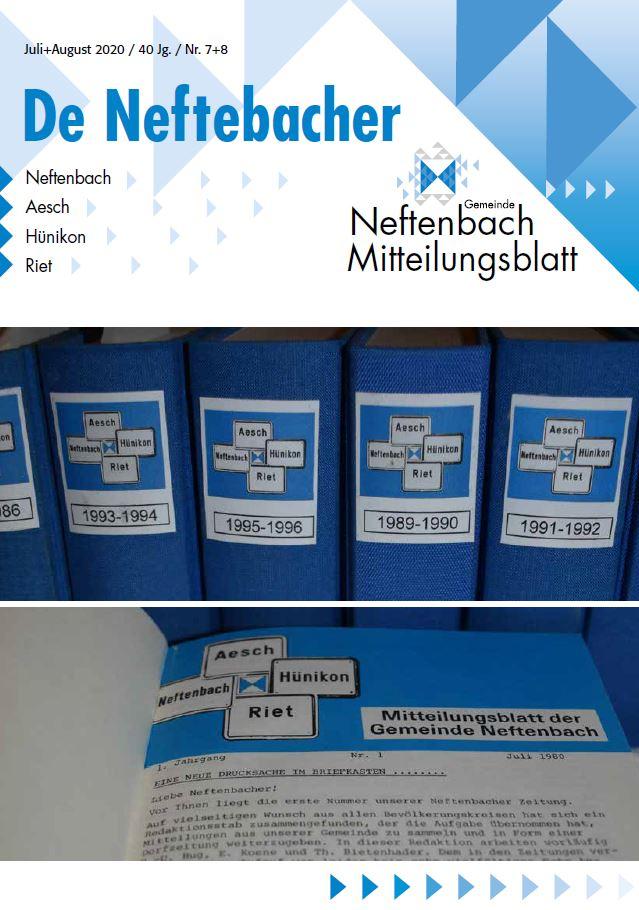 Titelbild Mitteilungsblatt de Neftebacher Juli / August 2020